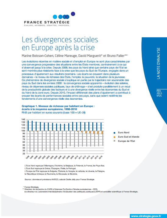 Note d'analyse - Les divergences sociales en Europe après la crise